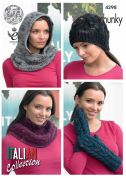 King Cole Ladies Cowls, Hat & Mittens Florence Knitting Pattern 4298  Chunky