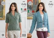 King Cole Ladies Jacket & Top Verona Knitting Pattern 4299  Chunky