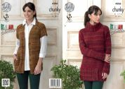 King Cole Ladies Sweater Dress & Waistcoat Venice Knitting Pattern 4306  Chunky