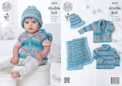 King Cole Baby Cardigan, Sweater, Blanket & Hat Drifter for Baby Knitting Pattern 4310  DK