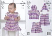 King Cole Baby Dress, Tunic, Coat & Hat Drifter for Baby Knitting Pattern 4311  DK