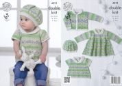 King Cole Baby Dress, Top, Cardigan & Hat Drifter for Baby Knitting Pattern 4312  DK