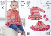 King Cole Baby Dress, Cardigan, Skirt & Mittens Drifter for Baby Knitting Pattern 4313  DK
