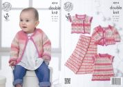 King Cole Baby Dress, Cardigan, Waistcoat & Blanket Drifter for Baby Knitting Pattern 4314  DK