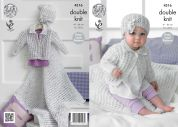 King Cole Baby Cardigan, Blanket & Hat Smarty Baby Knitting Pattern 4316  DK