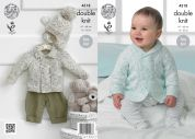 King Cole Baby Jacket & Hat Smarty Baby Knitting Pattern 4318  DK