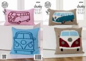 King Cole Home Camper Van Cushions Big Value Knitting Pattern 4324  Chunky