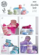 King Cole Family Hug Slipper Boots Drifter for Baby Knitting Pattern 4325  DK