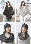 King Cole Ladies Ponchos, Hat & Snood Urban Knitting Pattern 4326