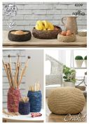 King Cole Home Storage Bowls, Jar Covers & Pouffe Raffia Crochet Pattern 4339