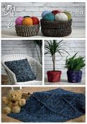 King Cole Home Storage Baskets, Cushions, Plant Pot Covers & Rug Raffia Crochet Pattern 4341