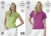 King Cole Ladies Tops Cottonsoft Knitting Pattern 4344  DK