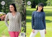 King Cole Ladies Sweater & Cardigan Fashion Knitting Pattern 4346  Aran