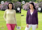 King Cole Ladies Raglan Sweater & Cardigan Fashion Knitting Pattern 4347  Aran