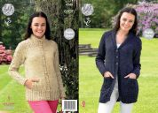 King Cole Ladies Raglan Cardigans Fashion Knitting Pattern 4348  Aran