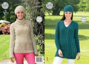 King Cole Ladies Sweater, Tunic & Hat Fashion Knitting Pattern 4349  Aran