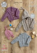 King Cole Baby Sweater, Hoodie, Cardigan & Hat New Magnum Knitting Pattern 4351  Chunky
