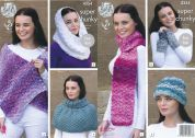 King Cole Ladies Scarf, Wrap, Snood, Hat & Wrist Warmers Big Value Knitting Pattern 4354  Super Chunky