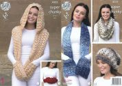 King Cole Ladies Scarf, Snood, Hat & Hand Warmer Big Value Knitting Pattern 4355  Super Chunky