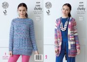 King Cole Ladies Raglan Jacket & Sweater Gypsy Knitting Pattern 4359  Super Chunky