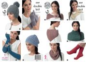 King Cole Ladies Hats, Scarf, Neck Warmers, Gloves & Fingerless Gloves Baby Alpaca Knitting Pattern 4369  DK