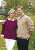 King Cole Ladies & Mens Sweaters Merino Knitting Pattern 4373  DK