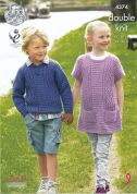 King Cole Childrens Sweater & Tunic Merino Knitting Pattern 4374  DK