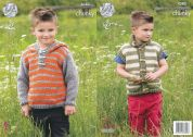 King Cole Boys Hoodie & Waistcoat Big Value Knitting Pattern 4383  Chunky