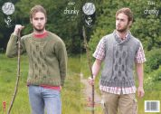 King Cole Mens Sweater & Tank Top Big Value Knitting Pattern 4387  Chunky