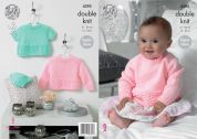 King Cole Baby Sweaters & Hat Big Value Knitting Pattern 4395  DK