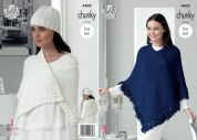 King Cole Ladies Poncho, Wrap & Hat Glitz Knitting Pattern 4402  Chunky