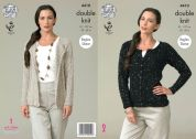 King Cole Ladies Raglan Cardigans Galaxy Knitting Pattern 4410  DK