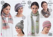 King Cole Ladies Hats, Scarves & Snood Drifter Knitting Pattern 4414  DK
