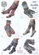 King Cole Family Socks Drifter Knitting Pattern 4415  DK