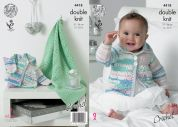King Cole Baby Coats & Blanket Cherish Crochet Pattern 4418  DK