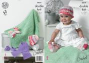 King Cole Baby Hat, Scarf, Shoes, Socks & Blanket Cherish Crochet Pattern 4419  DK