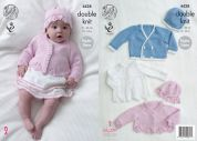 King Cole Baby Matinee Coat, Cardigan, Jacket & Hats Cottonsoft Knitting Pattern 4428  DK