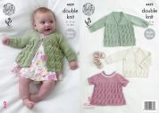 King Cole Baby Matinee Coat, Angel Top & Cardigan Cottonsoft Knitting Pattern 4429  DK
