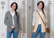 King Cole Ladies Waistcoat & Cardigan Big Value Knitting Pattern 4432  Aran