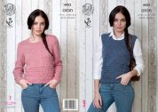 King Cole Ladies Sweater & Tank Top Big Value Knitting Pattern 4433  Aran