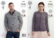 King Cole Mens & Ladies Sweater & Cardigan Verona Knitting Pattern 4438  Chunky