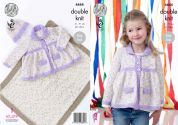 King Cole Girls Jacket, Blanket & Hat Smarty Baby Knitting Pattern 4444  DK