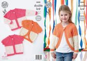King Cole Girls Cardigans Smarty Baby Knitting Pattern 4445  DK