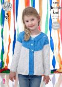 King Cole Girls Sweater & Cardigan Smarty Baby Knitting Pattern 4446  DK