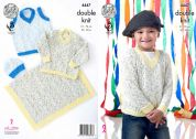 King Cole Boys, Sweater, Tank Top, Hat & Blanket Smarty Baby Knitting Pattern 4447  DK