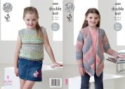 King Cole Girls Cardigan & Top Drifter Knitting Pattern 4450  DK