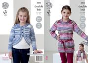 King Cole Girls Raglan Sweater, Cardigan & Scarf Drifter Knitting Pattern 4452  DK