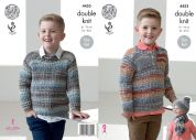 King Cole Boys Sweater, Hat & Scarf Drifter Knitting Pattern 4453  DK