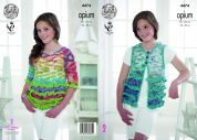 King Cole Girls Waistcoat & Sweater Opium Knitting Pattern 4474