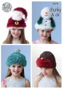 King Cole Childrens Novelty Christmas Hats Tinsel Knitting Pattern 4478  Chunky